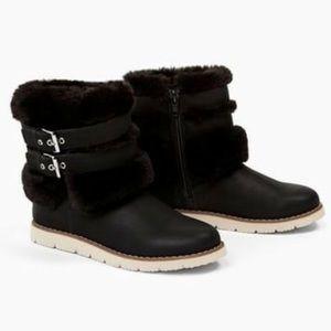 ZARA Girls Faux Fur Ankle Buckle Boots
